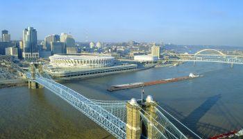'Roebling Suspension Bridge, Cincinnati, Ohio'