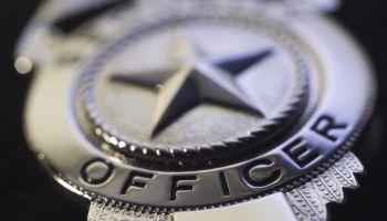 Police badge, close-up
