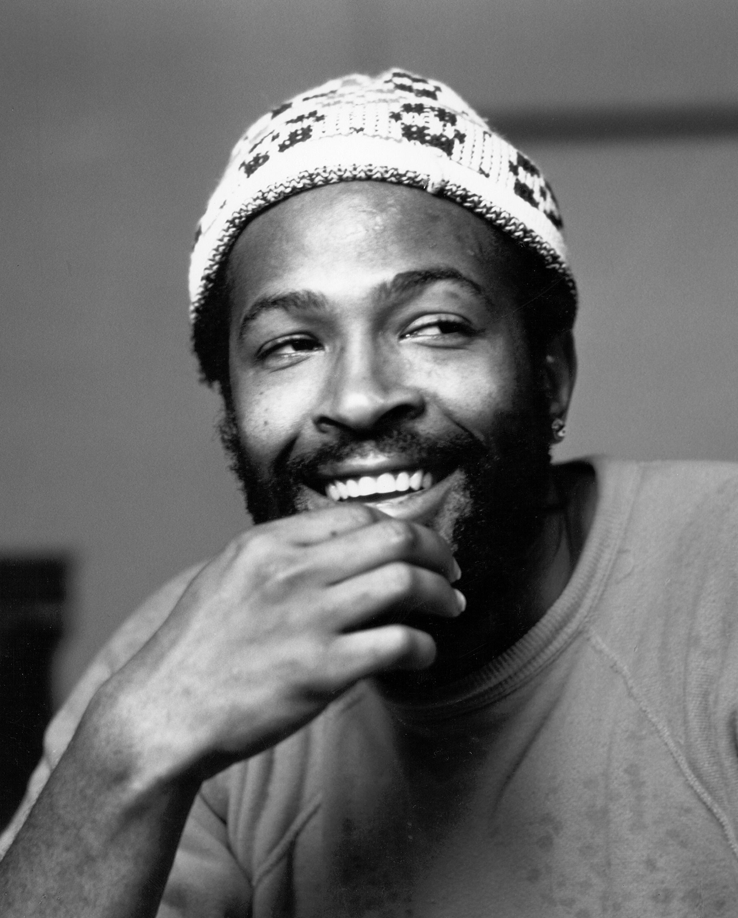 Marvin Gaye Portrait Wearing White Cap