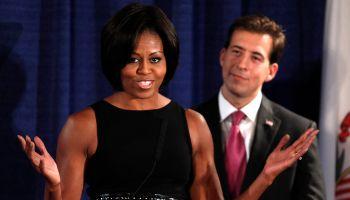 Michelle Obama Campaigns For Illinois Senate Candidate Alexi Giannoulias
