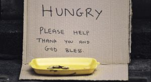 homeless and hungry sign
