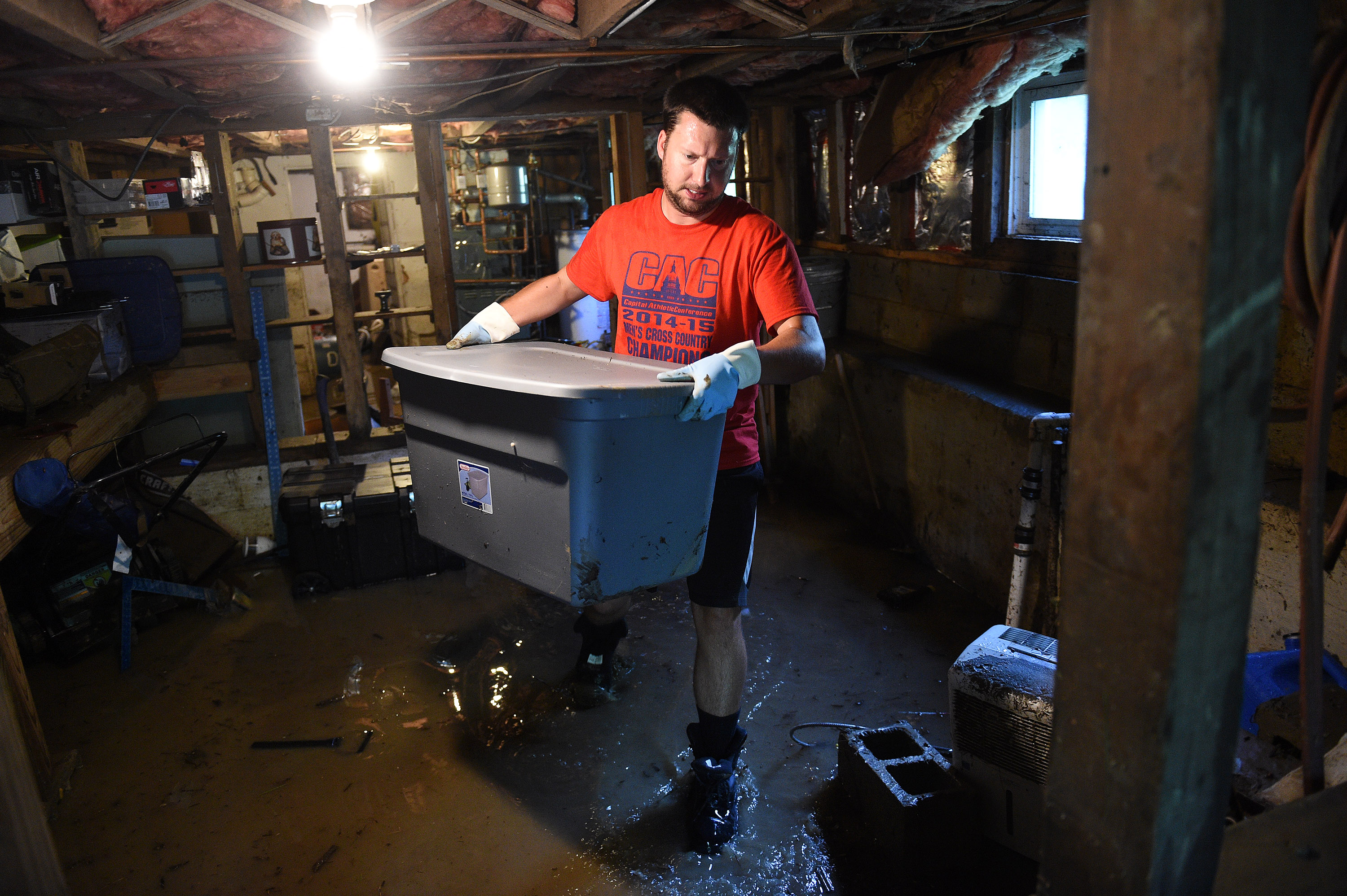 ELLICOTT CITY, MD - JULY 31: Zack Dickerson, 29, red t-shirt,