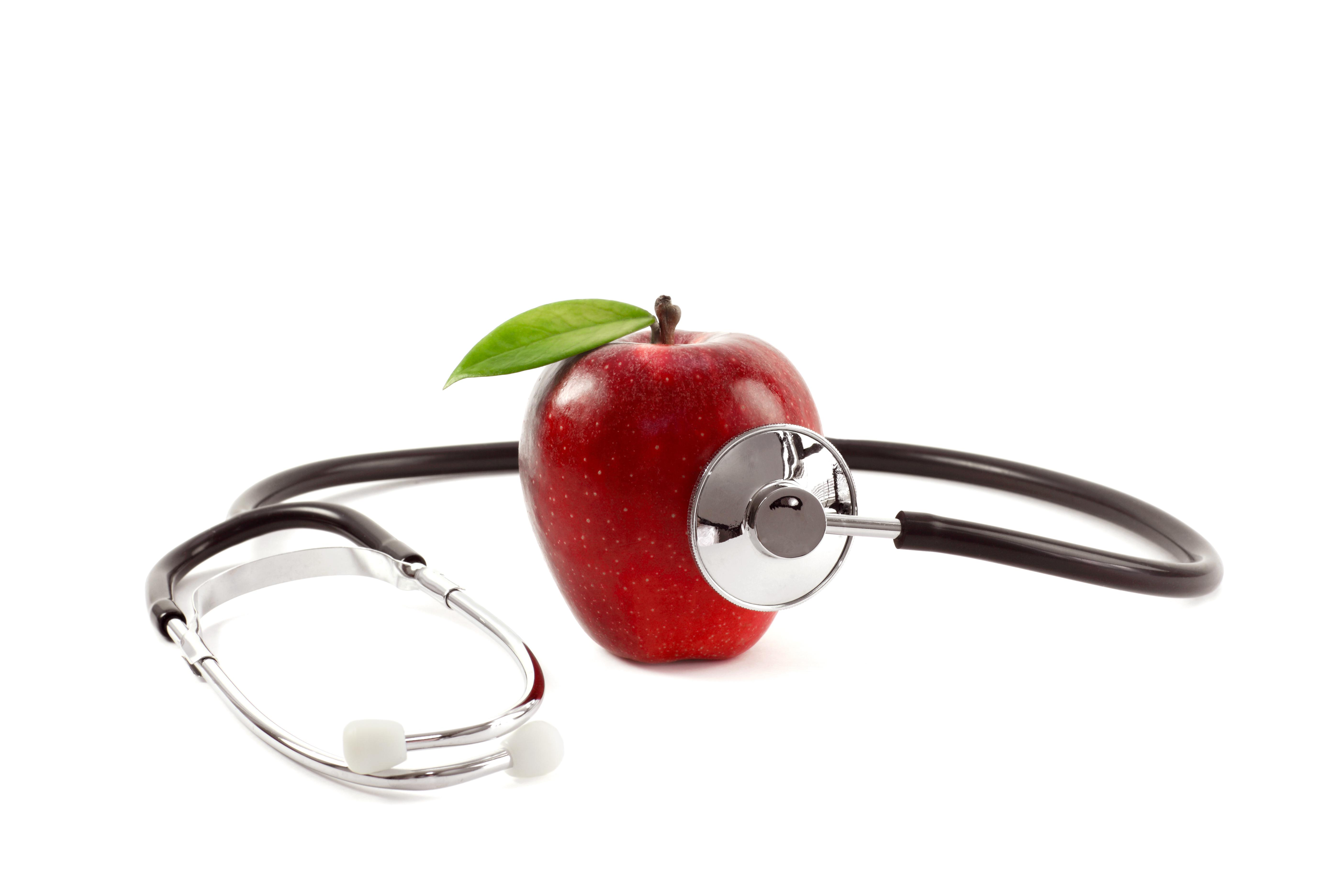 Healthcare Check-up with Apple and Stethoscope