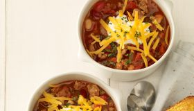 Chili in white bowls