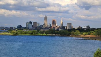 Cleveland skyline on the lake erie shore