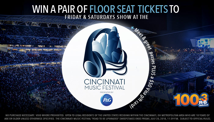 "CINCINNATI MUSIC FESTIVAL ""THE ROAD TO BE UPGRADED""_Enter-to-win Contest_WDBZ_WOSL_RD_Cincinnati_July 2018"