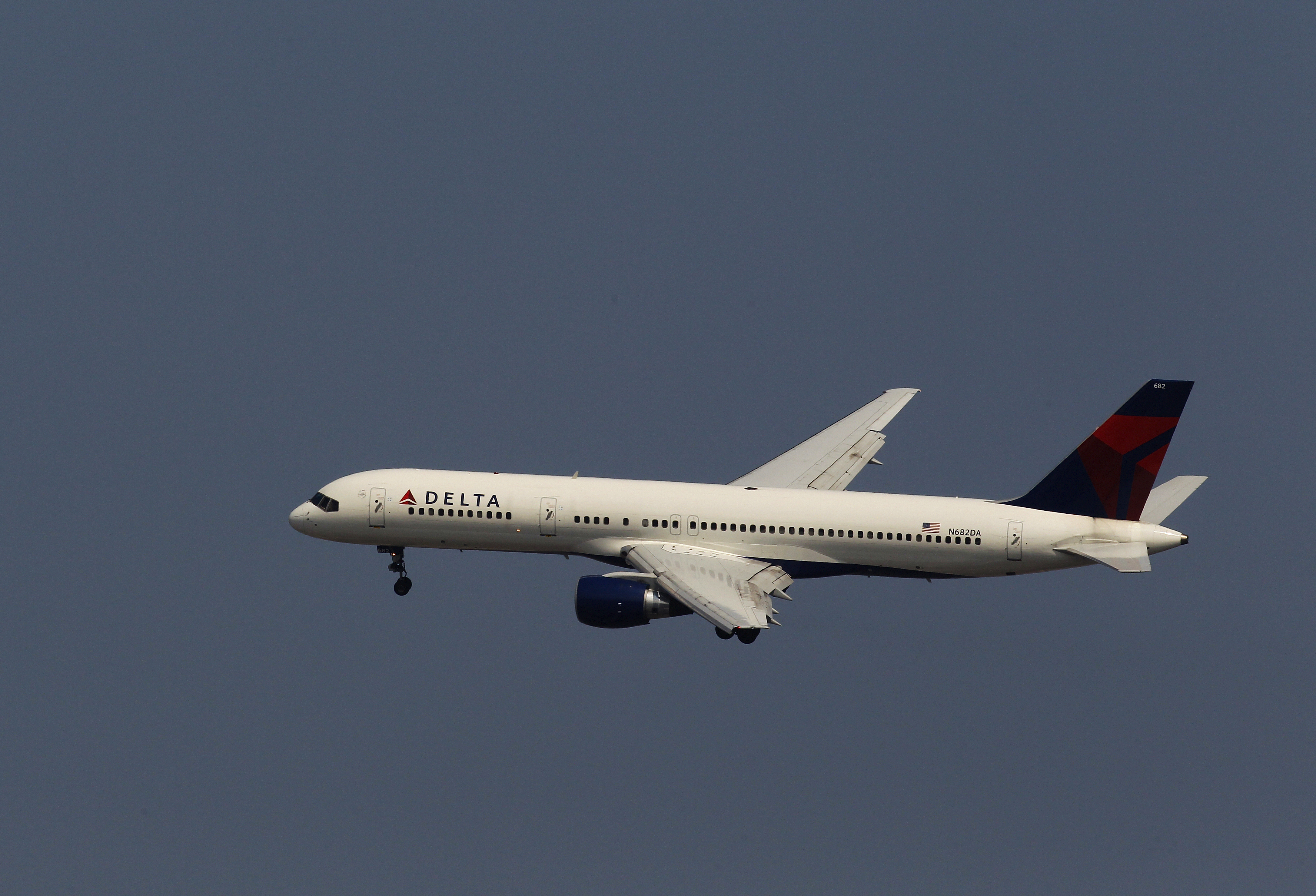 A Delta Air Lines airplane comes in for a landing at LaGuardia Airport in New York