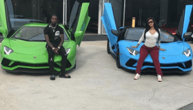 Offset and Cardi B in front of Lamborghinis