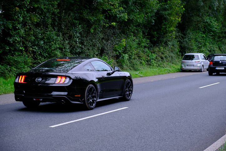 Black Ford Mustang at Cannonball Ireland - Limerick