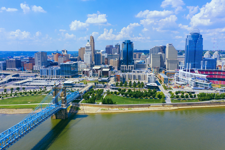 Cincinnati skyline aerial view with Ohio river