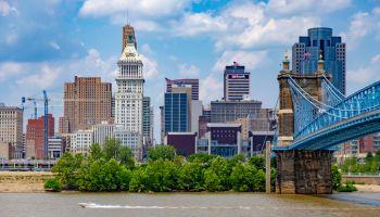 Cincinnati with Roebling Bridge