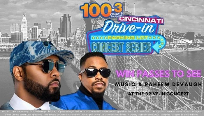 Drive-in concert giveaway musiq and Raheem devaughn